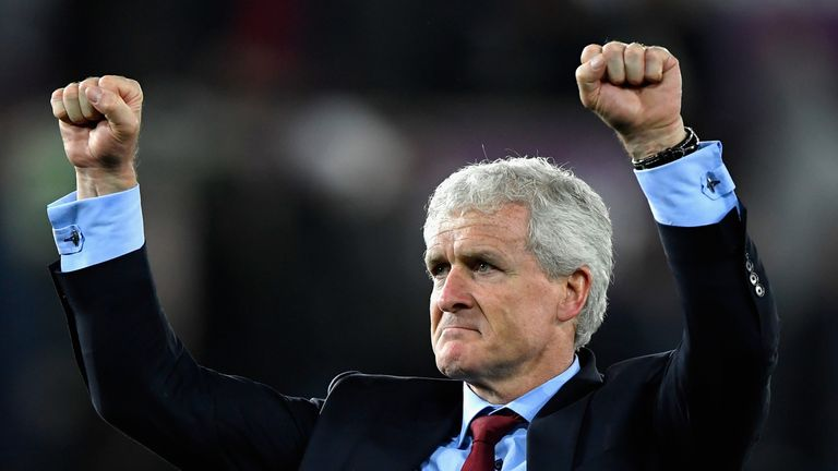 Mark Hughes celebrates after Southampton beat Swansea 1-0