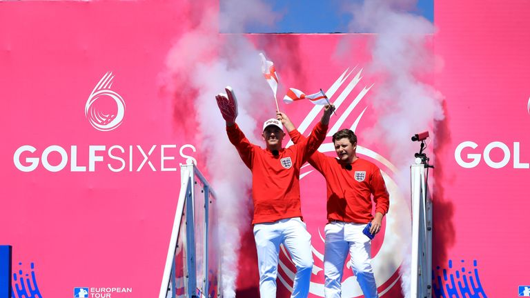 Matt Wallace and Eddie Pepperell of England are introduced to the crowd on Day One of the GolfSixes