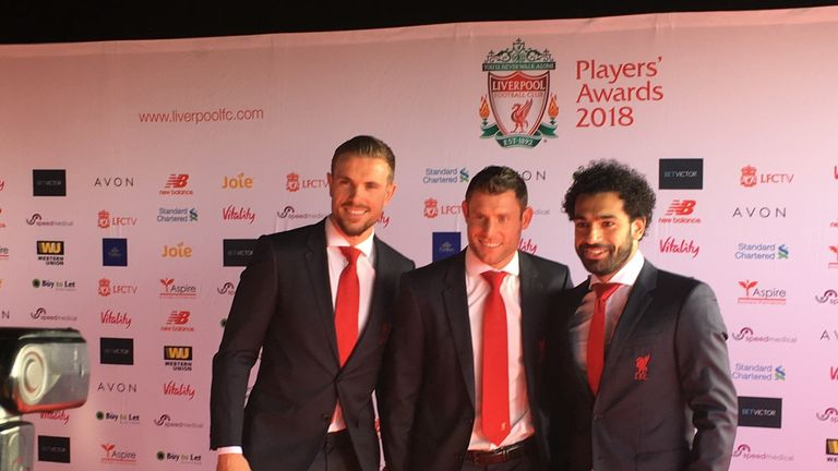 Mo Salah posed for pictures with team-mates at the Liverpool awards do.