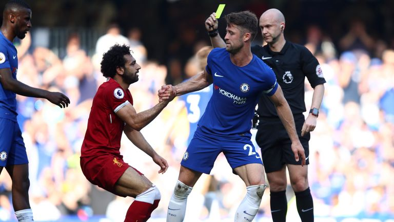 Salah attempted to round Gary Cahill when he went down on the edge of the area
