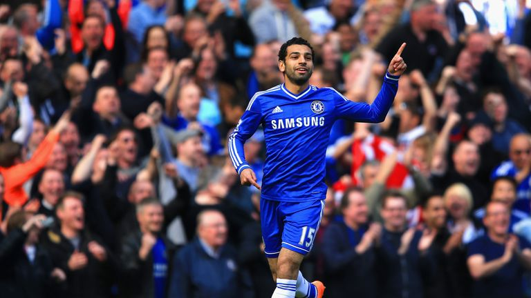 Salah celebrates his first goal for Chelsea