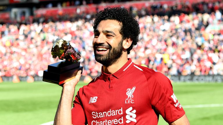 Mohamed Salah poses with his Premier League Golden Boot after scoring 32 goals in the league