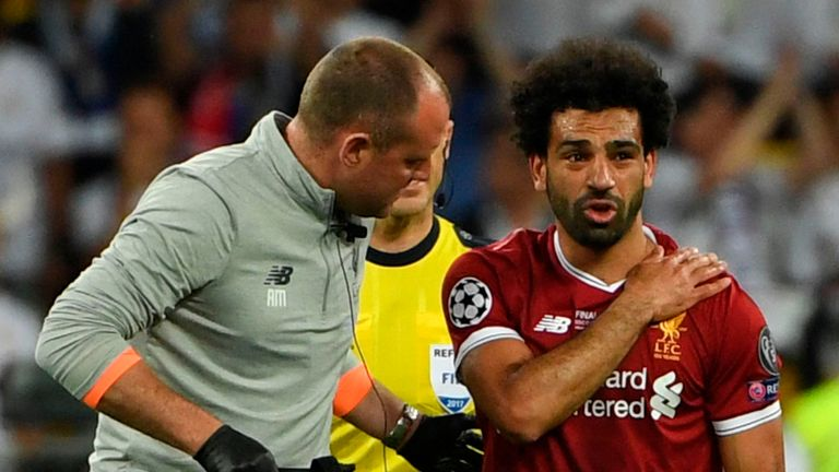 Mohamed Salah was forced off in the first half with a shoulder injury