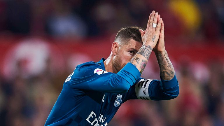 Ramos produced an apologetic celebration after his late goal