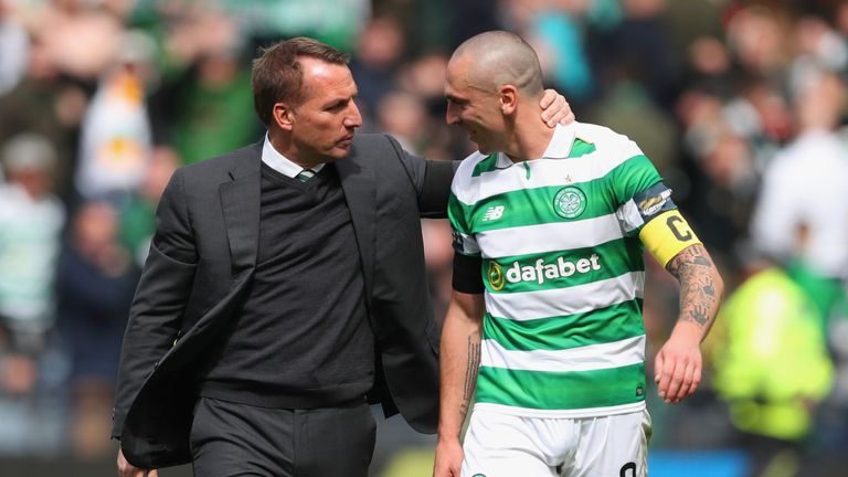 Celtic duo Brendan Rodgers and Scott Brown have picked up the top Scottish Premiership awards
