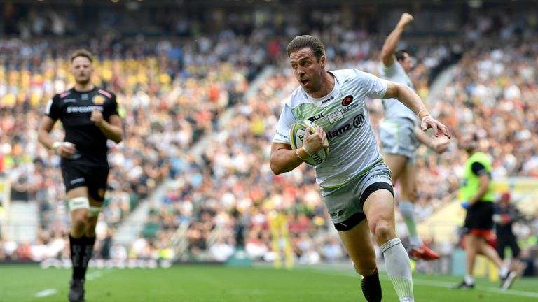 Saracens' Chris Wyles races to score in the 2018 Aviva Premiership final