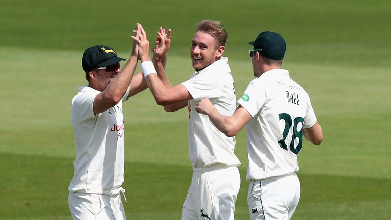Stuart Broad took 3-57 as Nottinghamshire returned to the top of the County Championship