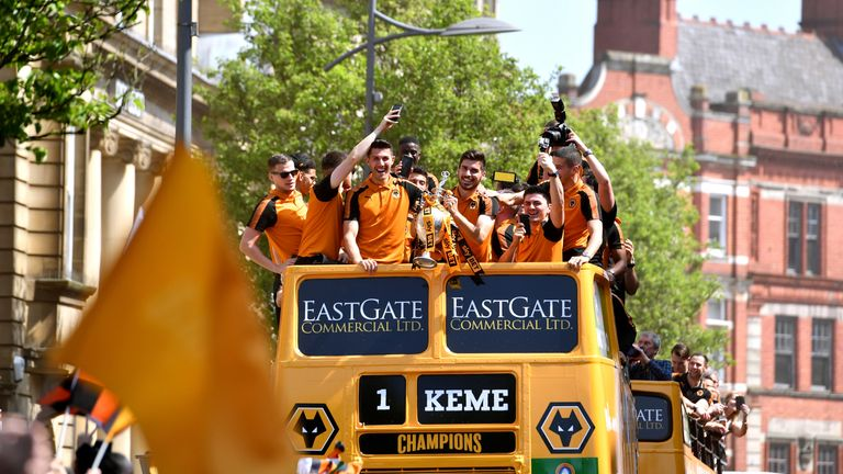 Wolves celebrated their promotion with an open top bus parade around the city of Wolverhampton