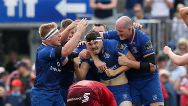 Leinster celebrate their semi-final win against Munster
