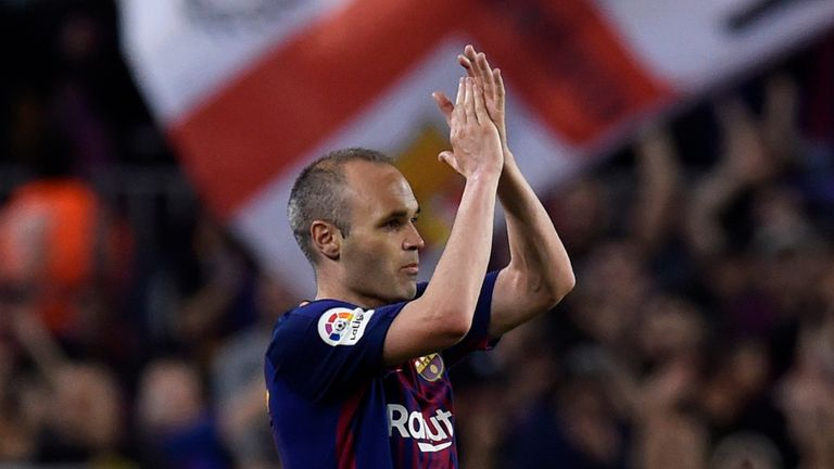Andres Iniesta during the La Liga match between Barcelona and Real Madrid at Camp Nou on May 6, 2018 in Barcelona, Spain.