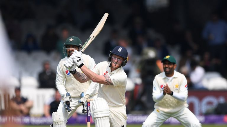 during the NatWest 1st Test match between England and Pakistan at Lord's Cricket Ground on May 24, 2018 in London, England.
