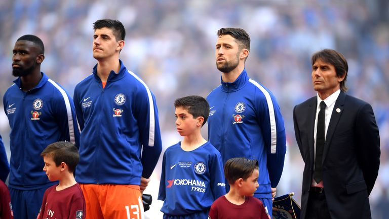 Chelsea during The Emirates FA Cup Final between Chelsea and Manchester United at Wembley Stadium on May 19, 2018 in London, England.