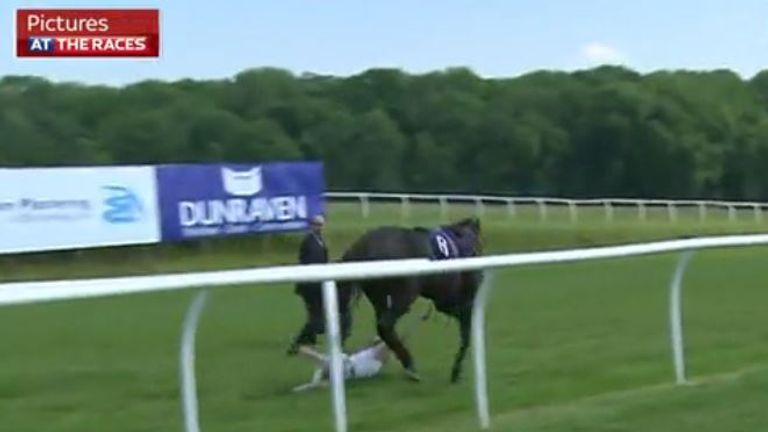 Hayley Moore catches loose horse on At The Races