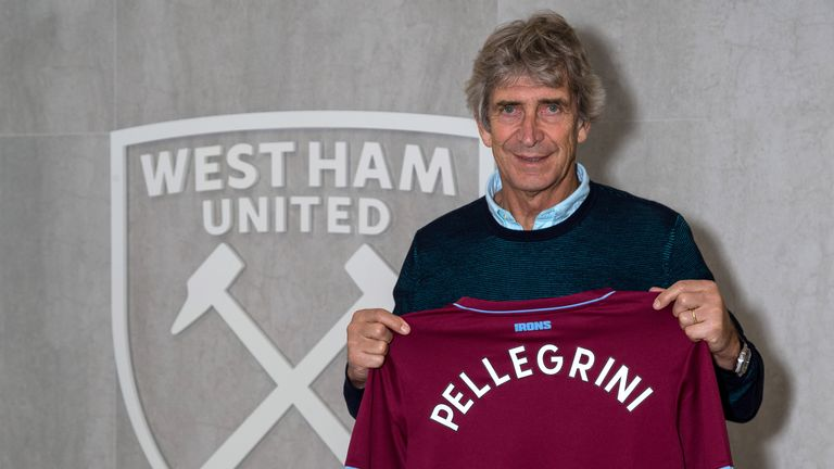 West Ham United's new manager Manuel Pellegrini poses with a shirt on May 21, 2018 in London, England. (Photo by West Ham United FC/Getty Images)