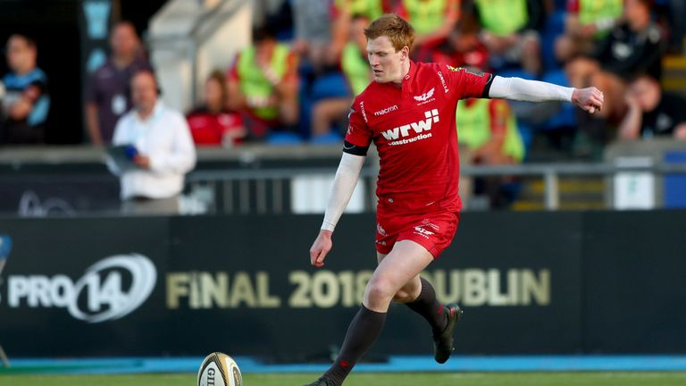 Rhys Patchell of Scarlets during their PRO14 semi-final against Glasgow Warriors
