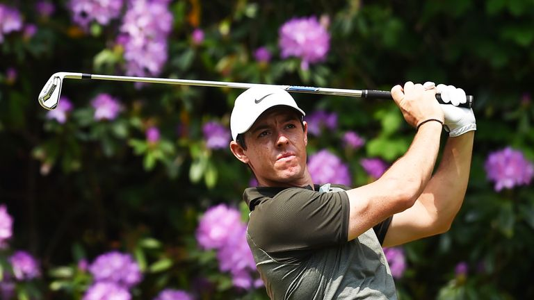 Northern Ireland's Rory McIlroy plays a shot on the seventeenth on day three of the golf PGA Championship at Wentworth Golf Club in Surrey, south west of London, on May 26, 2018