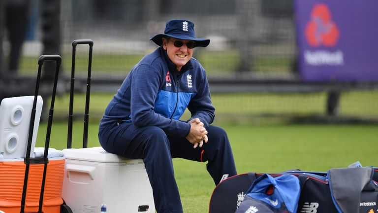 England coach Trevor Bayliss  during a net session with England and Pakistan at Lord's Cricket Ground on May 23, 2018 in London, England.