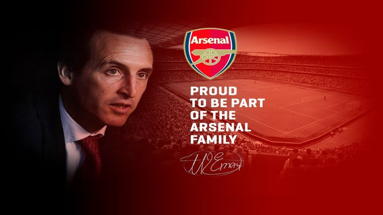 An image posted on the official website of Unai Emery appearing to confirm his appointment as Arsenal manager, 22 May 2018