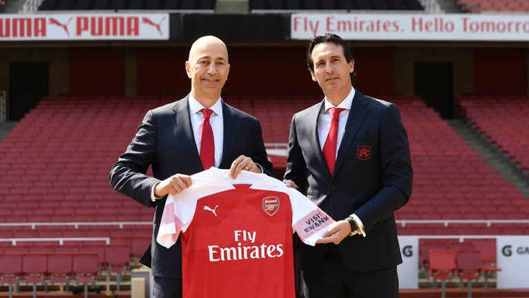 New Arsenal Head Coach Unai Emery poses for a photograph with Arsenal CEO Ivan Gazidis at the Emirates Stadium on May 23, 2018