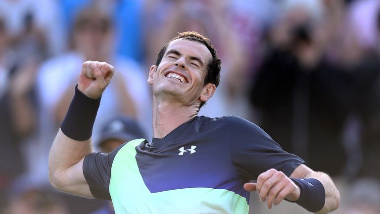 Andy Murray celebrates his win over Stan Wawrinka at Eastbourne