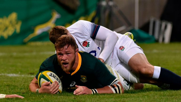 Duane Vermeulen was too powerful for several England defenders on his way to scoring the Boks' first try