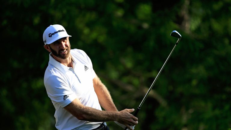 Dustin Johnson holes out from fairway on 18th hole