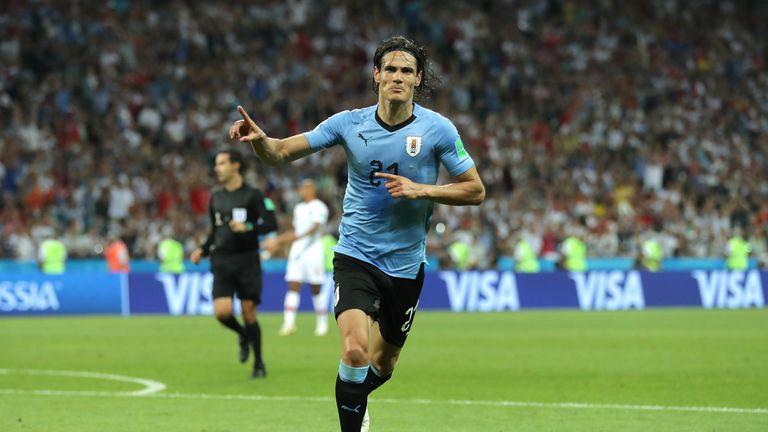 Edinson Cavani celebrates his second goal for Uruguay