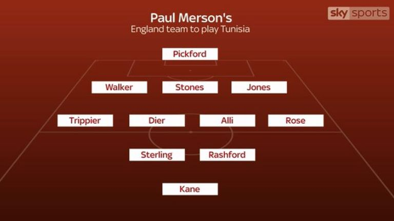 Merson's starting XI for England's World Cup opener against Tunisia