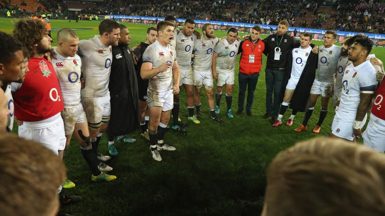 England captain Owen Farrell addresses his team following their victory over South Africa at Newlands.