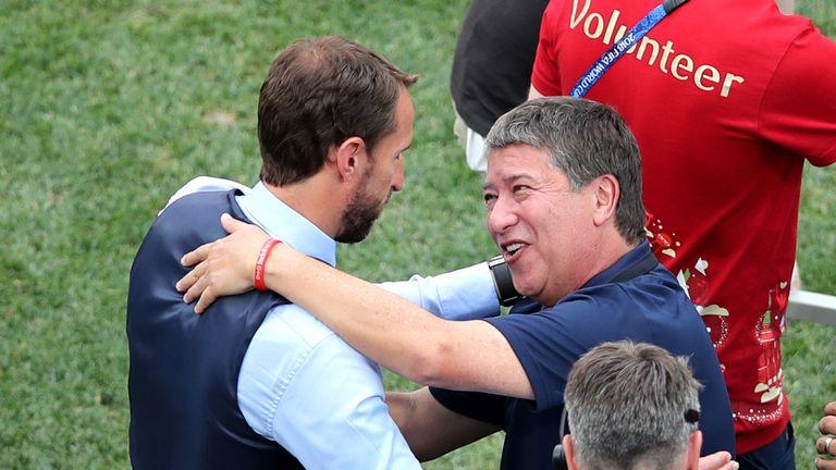 Hernan Dario Gomez congratulates Gareth Southgate after England's big win