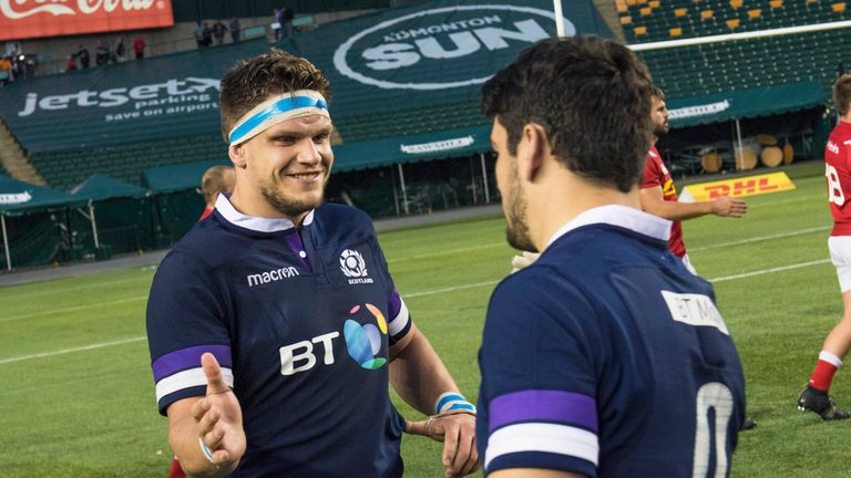 Turner (l) has made two appearances so far for Scotland
