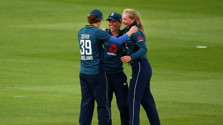 Georgia (C) and her England team-mates celebrate a wicket during Tuesday's second ODI