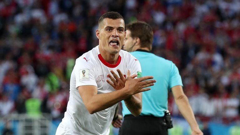 Granit Xhaka celebrates his equaliser for Switzerland vs Serbia