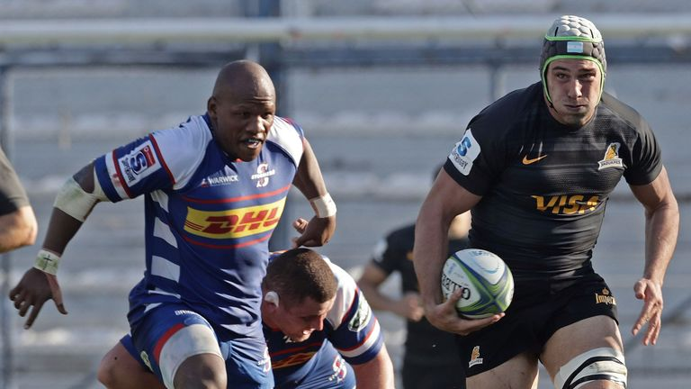 Jaguares lock Guido Petti runs with the ball against the Stormers