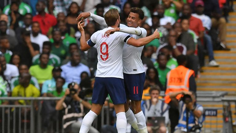 Kane celebrates with Dele Alli in England's match against Nigeria at Wembley