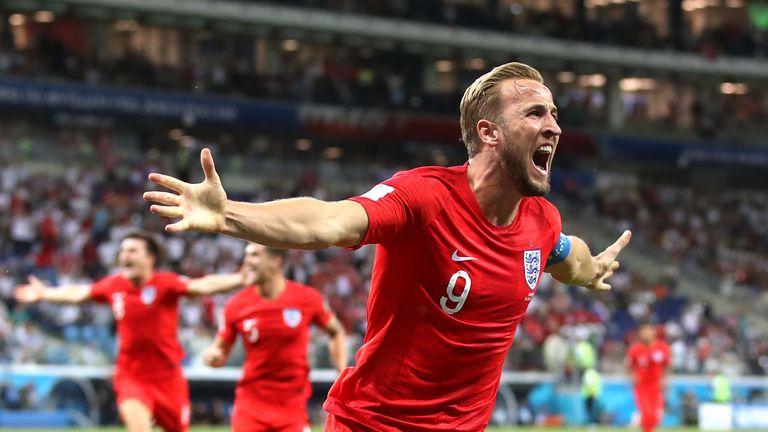 Harry Kane celebrates scoring England's winning goal