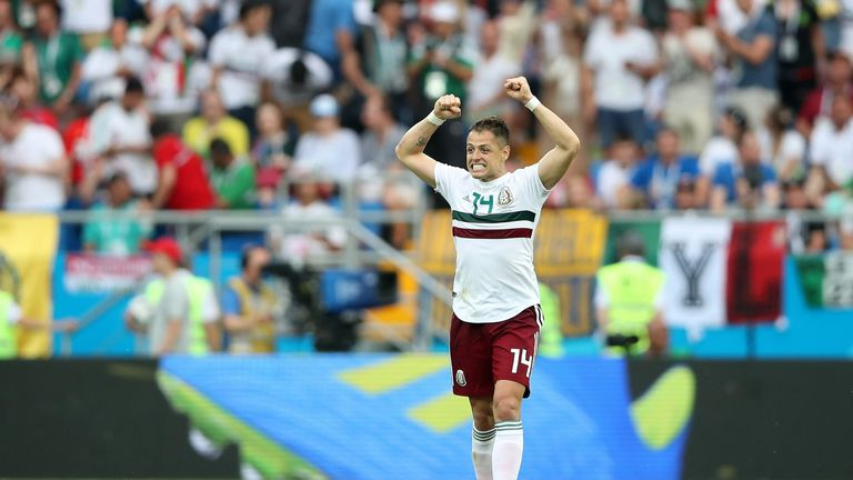 Javier Hernandez celebrates scoring Mexico's second goal against South Korea