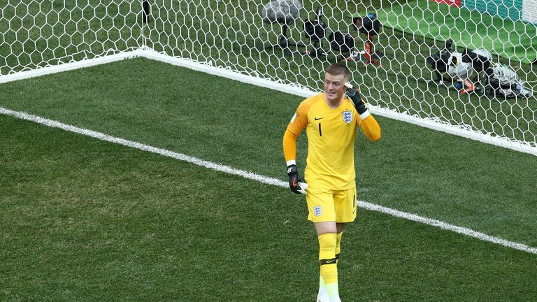 Jordan Pickford has been hailed as one of the star players for England at the World Cup