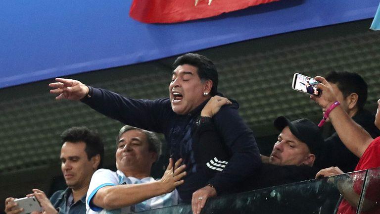 Maradona celebrates the winner in St Petersburg