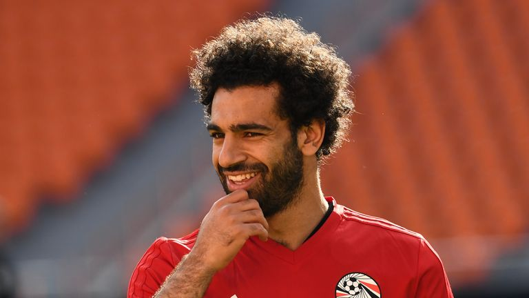 Mohamed Salah has been training with Egypt since they arrived in Russia