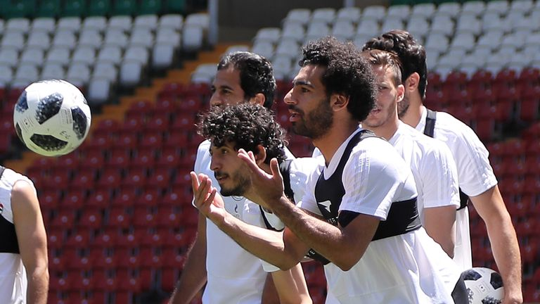 Salah took part in training with his Egypt team-mates at the stadium on Wednesday