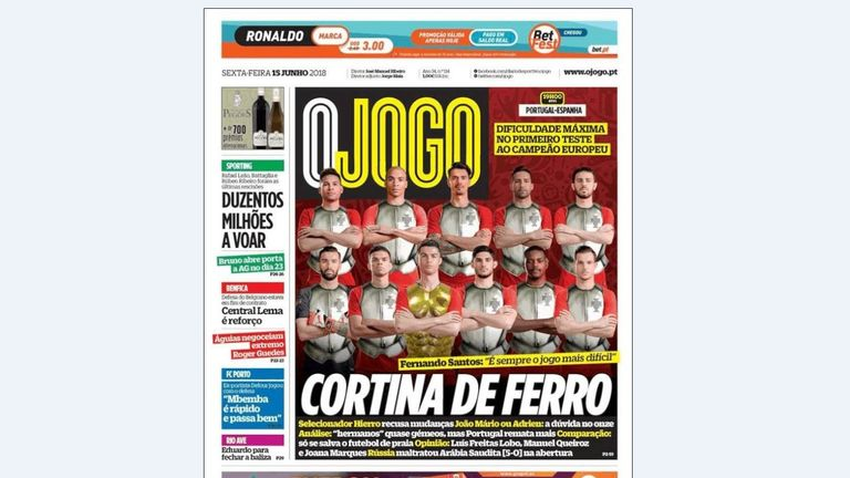 O Jogo Newspaper ahead of Portugal's clash with Spain