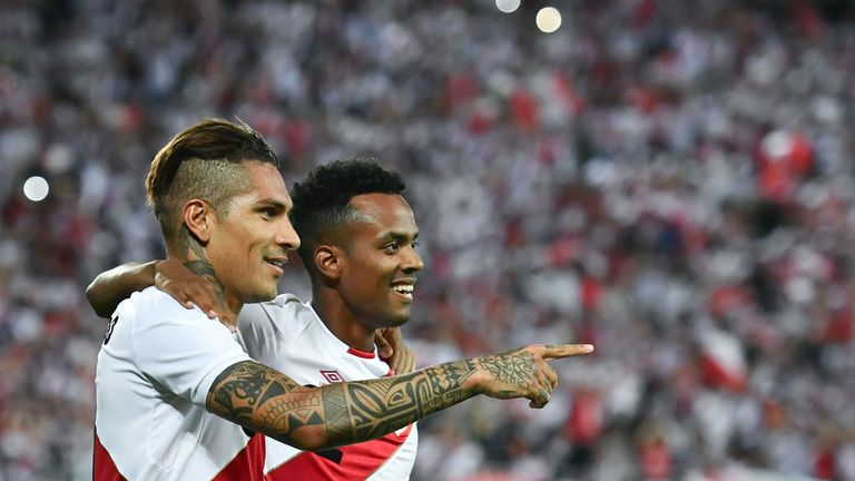 Paolo Guerrero (L) scored twice during an international friendly against Saudi Arabia on June 3