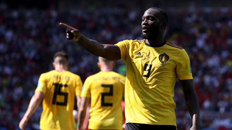 Lukaku celebrates after doubling Belgium's lead
