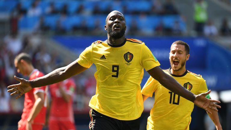 Romelu Lukaku celebrates with Eden Hazard after scoring against Tunisia