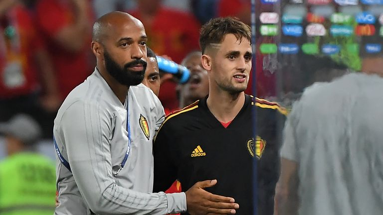 Thierry Henry (L) congratulates Adnan Januzaj (R), who scored the winner in Belgium's 1-0 win over England