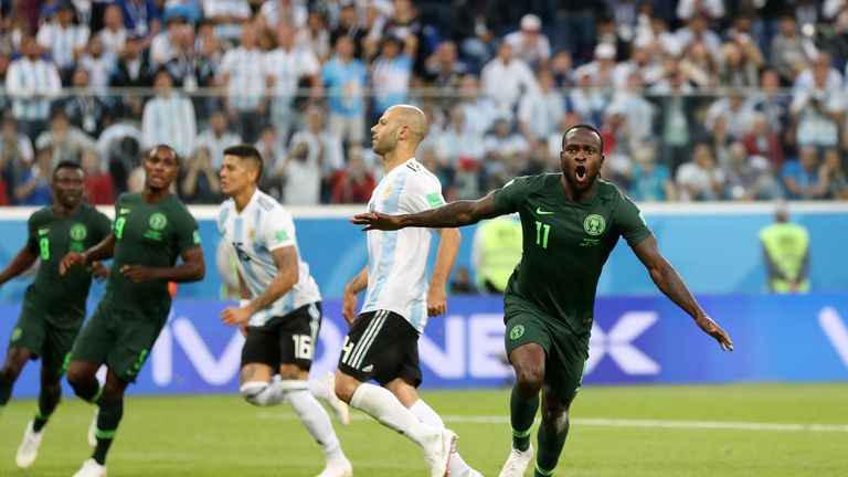 Victor Moses celebrates after scoring for Nigeria