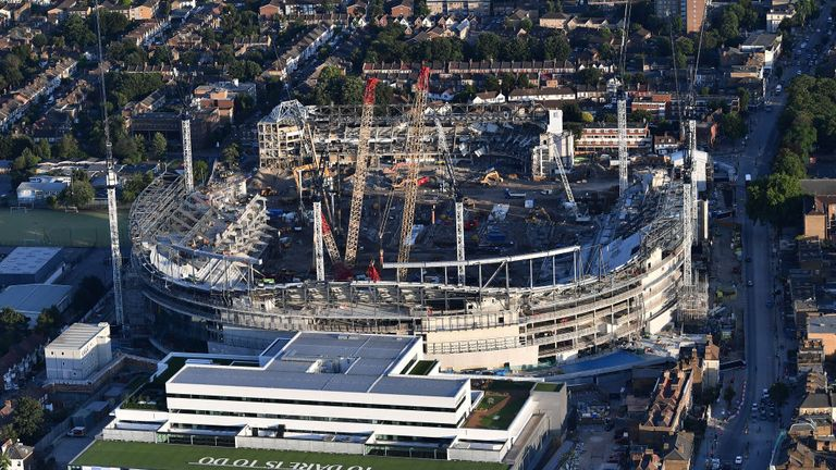 Mauricio Pochettino says Tottenham's new stadium (pictured here in July) cost closer to £1bn than £400m
