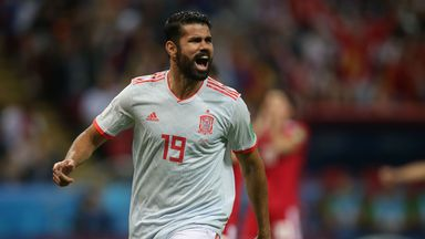 Diego Costa celebrates after giving Spain the lead