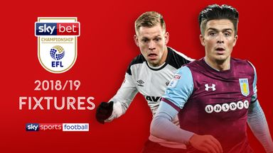 Derby go to Reading and Aston Villa travel to Hull on the first weekend of the Championship season
